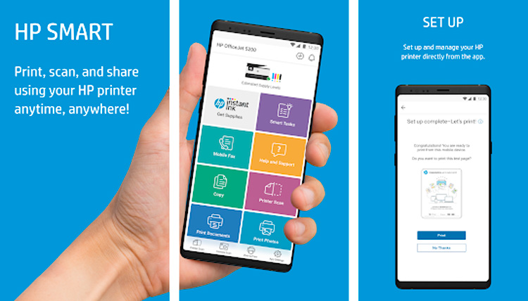 Interfaz gráfica de la app HP Smart