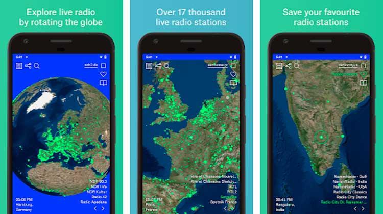 Interfaz gráfica de la app Radio Garden