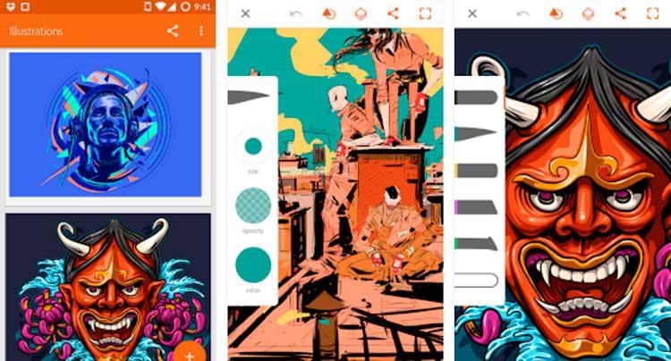 Interfaz gráfica de la app Adobe Illustrator