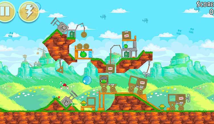 Interfaz gráfica del juego Angry Birds