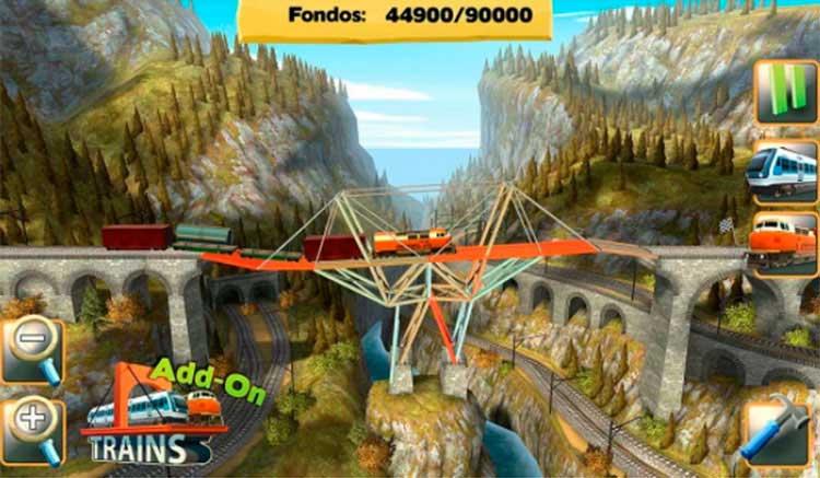 Interfaz gráfica del juego Bridge Constructor