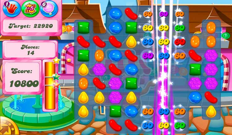Interfaz gráfica del juego Candy Crush Saga