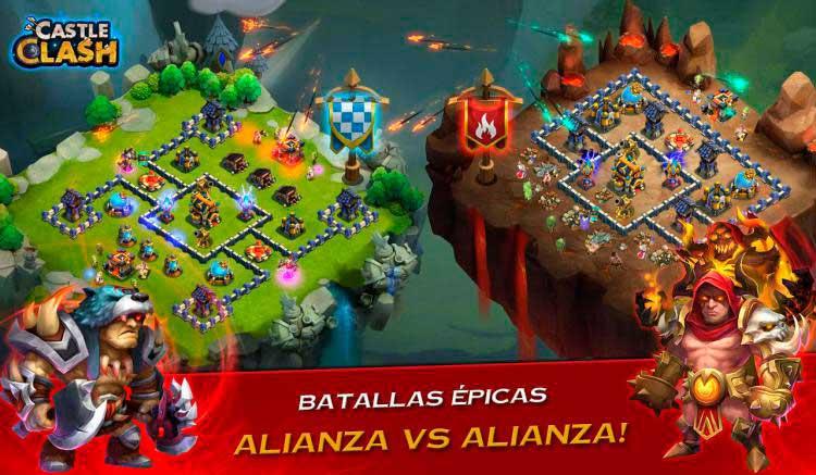 Interfaz gráfico del juego Castle Clash: Era de Bestias