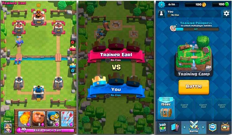Interfaz gráfica del juego Clash Royale