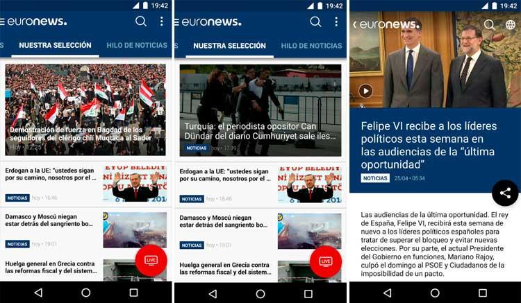 Interfaz gráfica de la app Euronews
