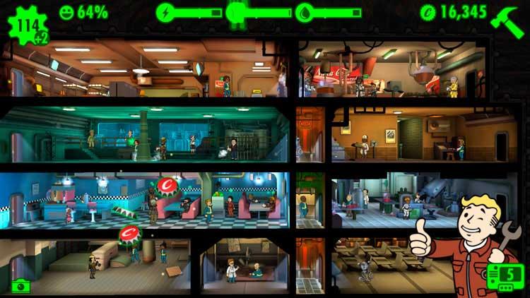 Interfaz gráfica del juego Fallout Shelter