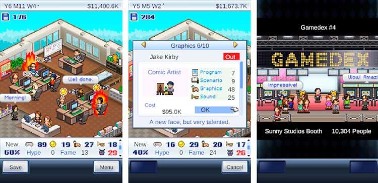Interfaz gráfica del juego Game Dev Story