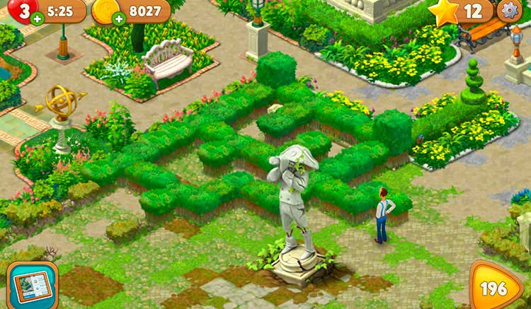 Interfaz gráfica del juego Gardenscapes