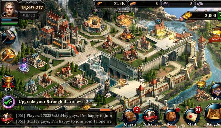 Interfaz gráfica del juego King of Avalon: Dragon Warfare