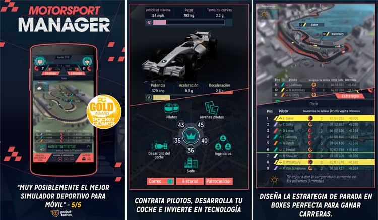 Interfaz gráfica del juego Motorsport Manager Handheld