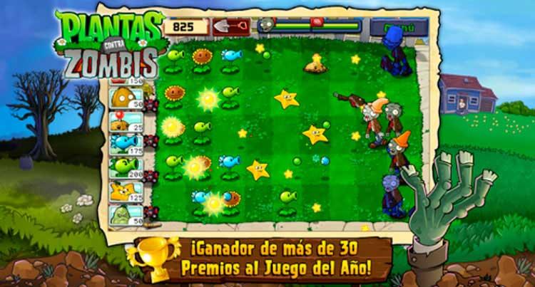 Interfaz gráfica del juego Plants vs. Zombies Free