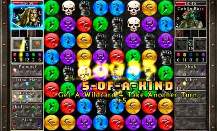 Interfaz gráfica del juego Puzzle Quest 2