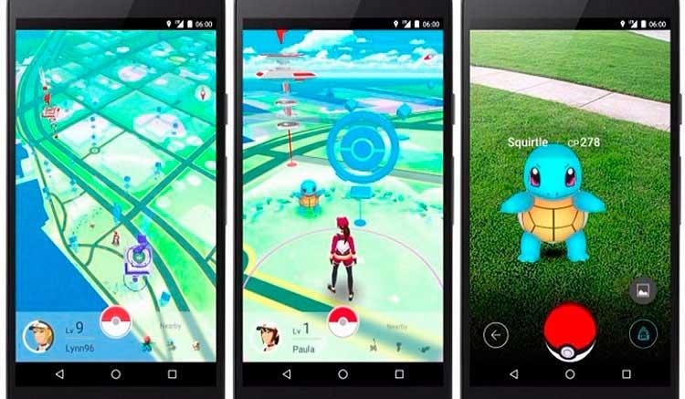 Interfaz gráfica del juego Pokémon Go