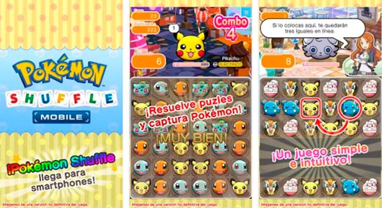 Interfaz gráfica del juego Pokémon Shuffle Mobile