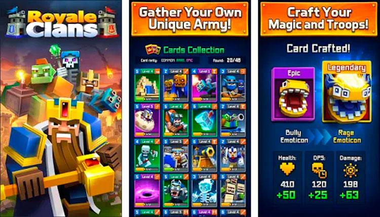 Interfaz gráfica de la app Royale Clans – Clash of Wars