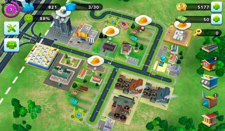 Interfaz gráfica del juego SimCity BuildIt