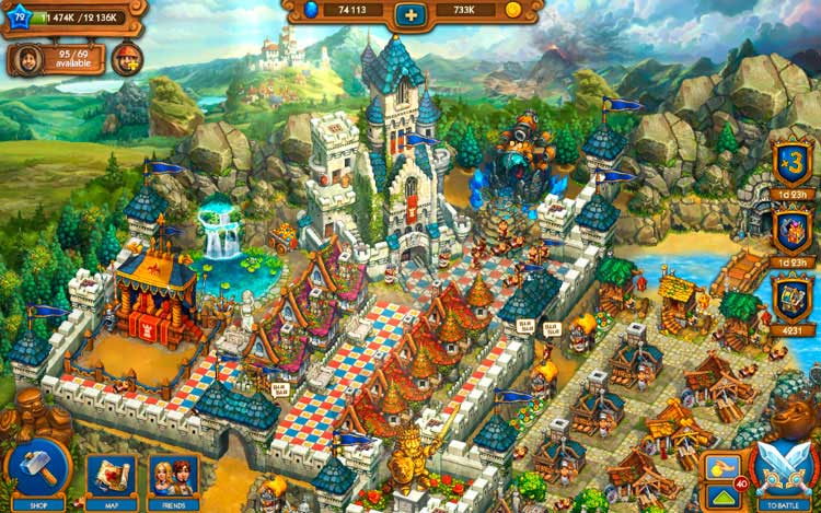 Interfaz gráfica del juego The Tribez & Castlez