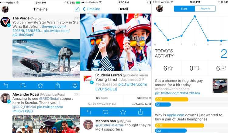 Interfaz gráfica de la app Tweetbot