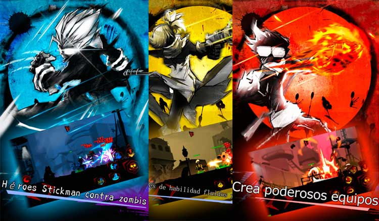 Interfaz gráfica del juego Zombie Avengers-Stickman War Z