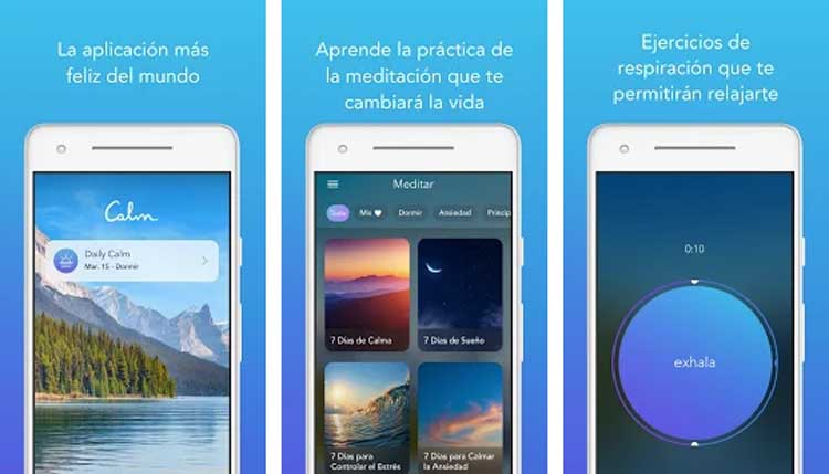 Interfaz gráfica de la app Calm