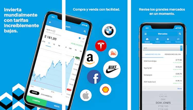 Interfaz gráfica de la app Degiro
