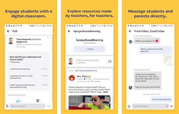 Interfaz de la app de Edmodo
