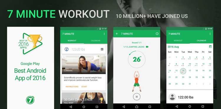 Interfaz gráfica de la app Entrenamiento de 7 Minutos