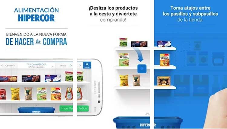 Interfaz gráfica de la app Hipercor