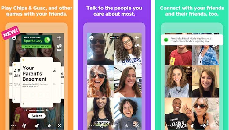 Interfaz gráfica de la app Houseparty