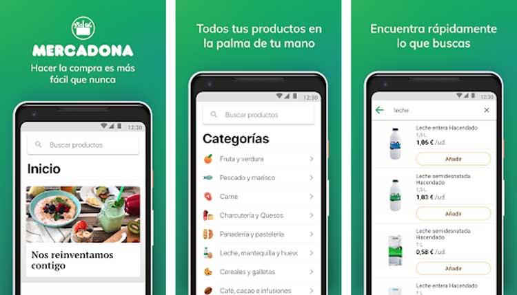 Interfaz gráfica de la app Mercadona