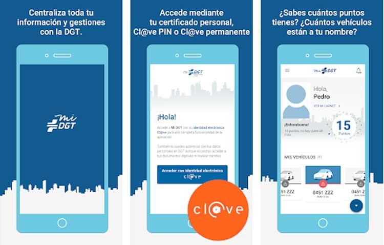 Interfaz gráfica de la app Mi DGT