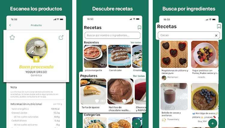 Interfaz gráfica de la app My Real Food