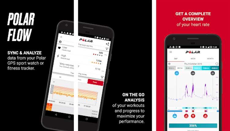 Interfaz gráfica de la app Polar Flow