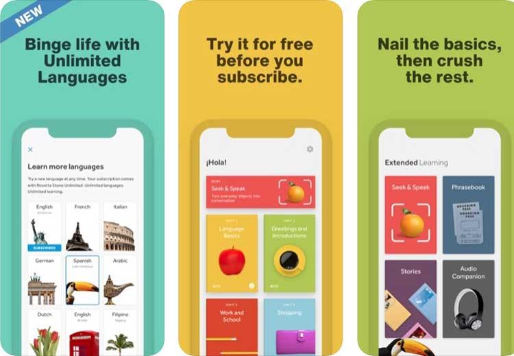 Interfaz gráfica de la app Rosetta Stone