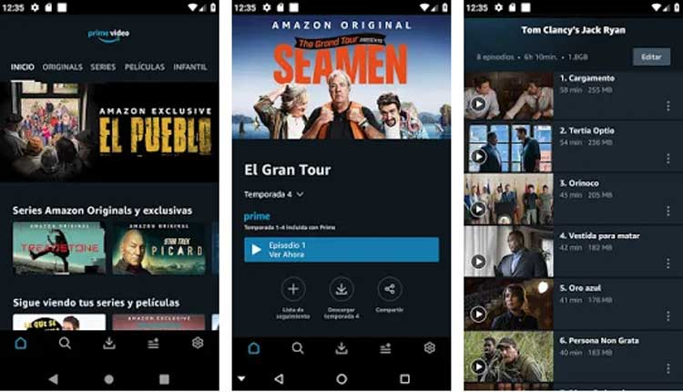 Interfaz gráfica de la app Amazon Prime Video