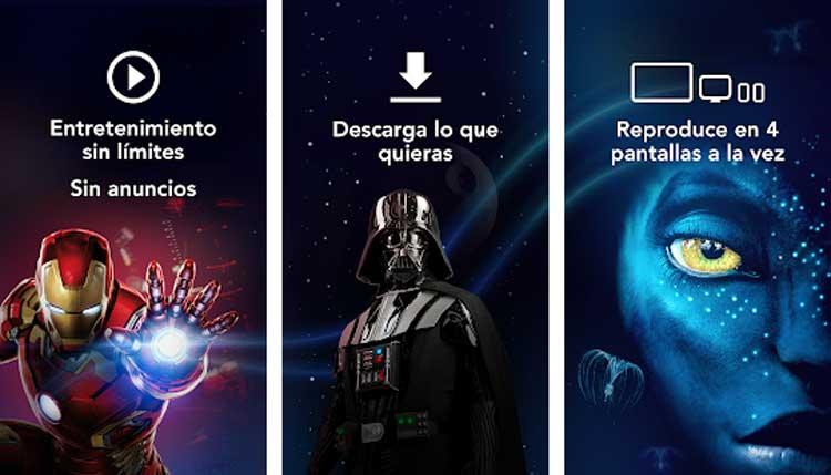 Interfaz gráfica de la app Disney+
