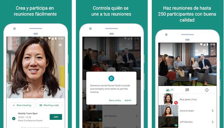 Interfaz gráfica de la app Google Meet
