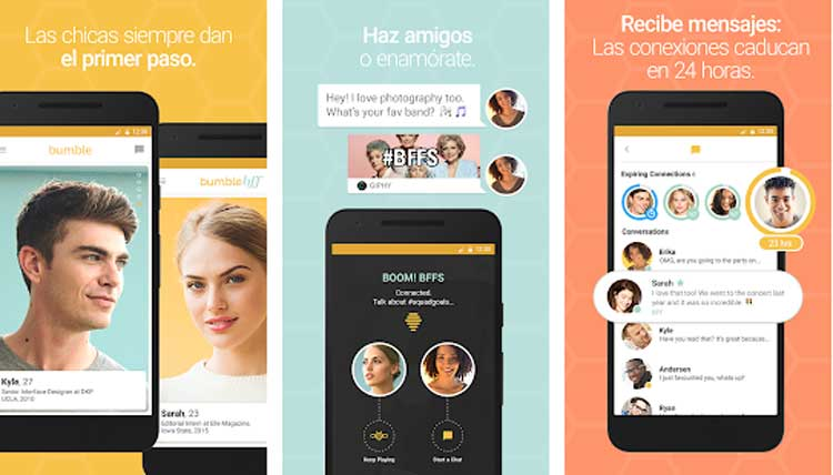 Interfaz gráfica de la app Bumble