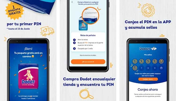 Interfaz gráfica de la app Dodot VIP