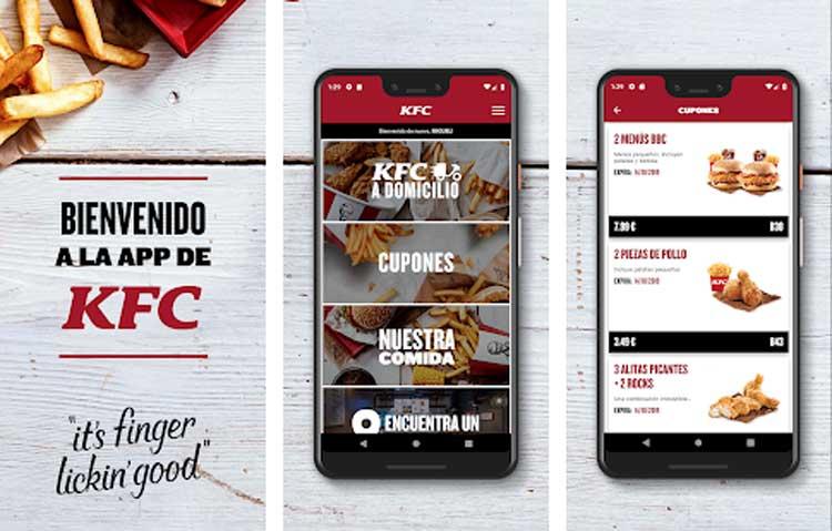 Interfaz gráfica de la app KFC España