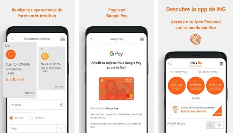 Interfaz gráfica de la app ING España