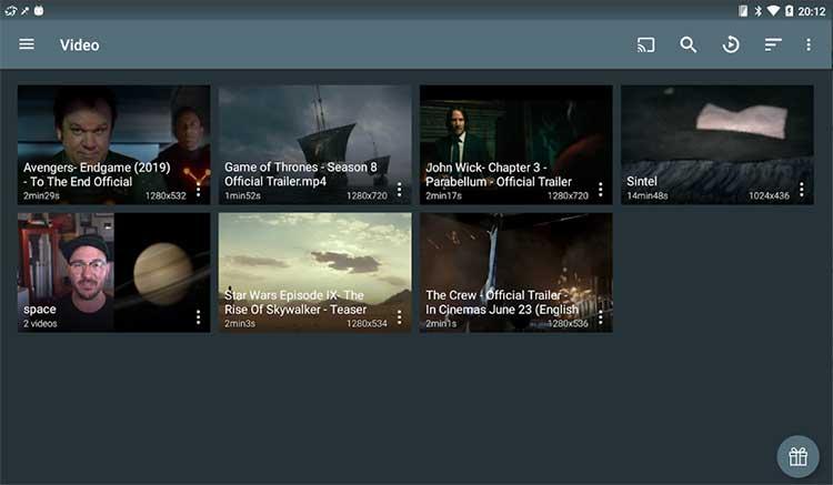 Interfaz gráfica de la app Ace Stream Media