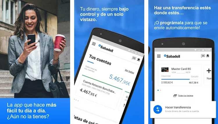 Interfaz gráfica de la app Banco Sabadell