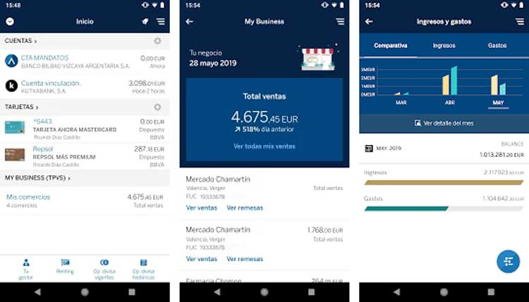 Interfaz gráfica de la app BBVA Net Cash
