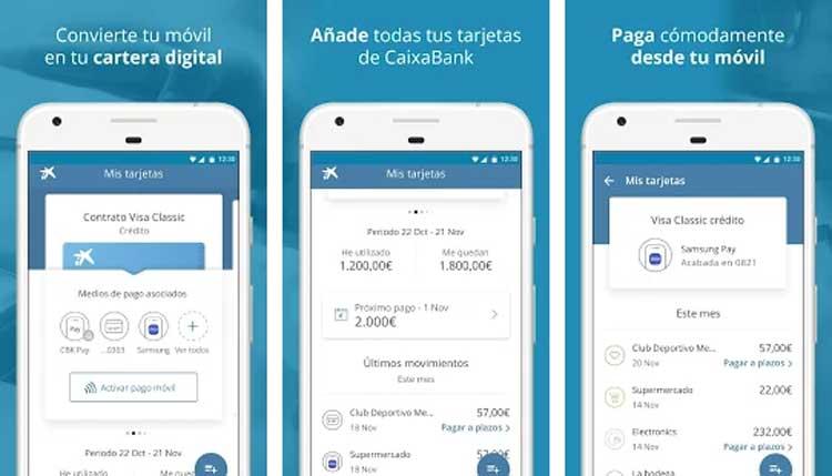 Interfaz gráfica de la app CaixaBank Pay