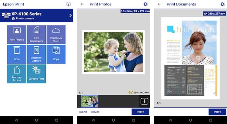 Interfaz gráfica de la app Epson iPrint