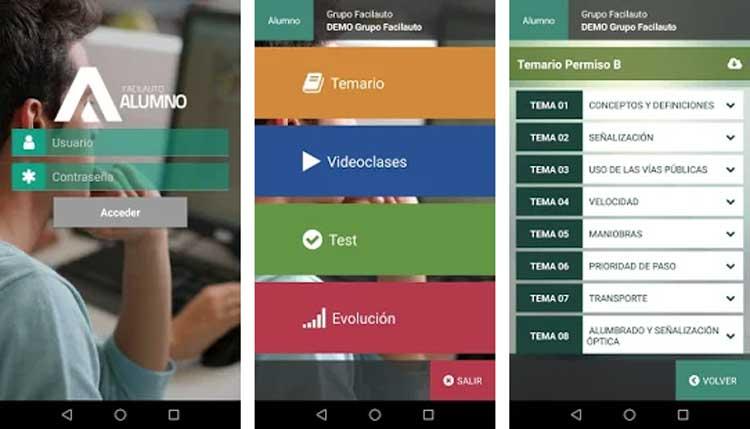 Interfaz gráfica de la app Facilauto