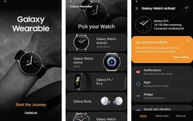 Interfaz gráfica de la app Galaxy Wearable