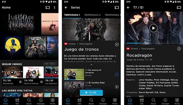 Interfaz gráfica de la app HBO España