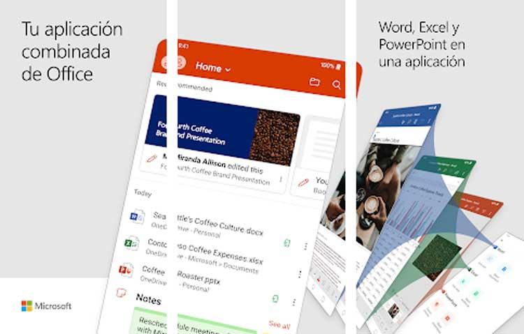 Interfaz gráfica de la app Microsoft Office